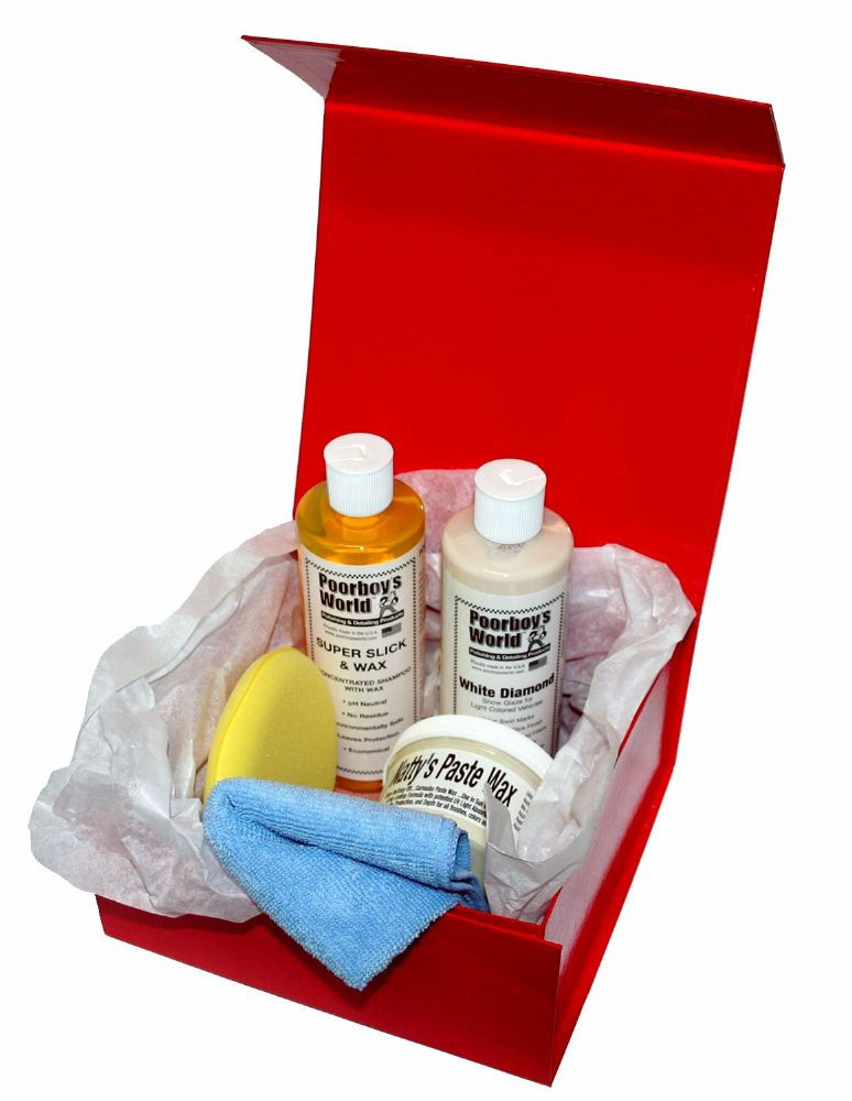 Car Cleaning Gift Box Poorboys LIGHT KIT Incl. White Diamond, Shampoo, Nattys Wax White